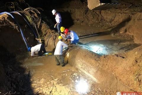 刚刚,昨天爆裂的供水管道已基本修复了!